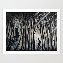 """""""The Forbidden Forest"""" (Bob Ross-style HarryPotter painting) Art Print"""