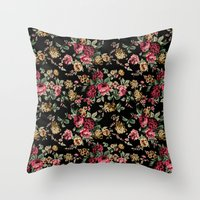 vintage flowers Throw Pillows featuring Vintage Flowers by Eduardo Doreni