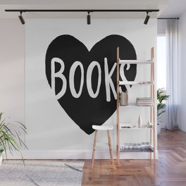 Heart Books - Hand lettered Book worm design  Wall Mural