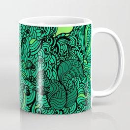 Squirrels Zentangle Drawing Green Coffee Mug