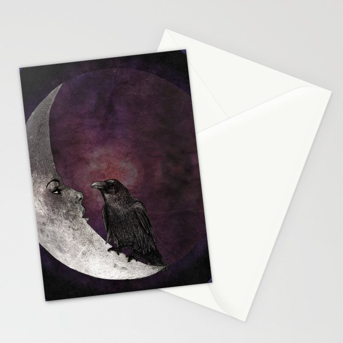 The crow and its moon. Stationery Cards
