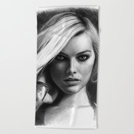 Margot Robbie Pencil Sketch Beach Towel