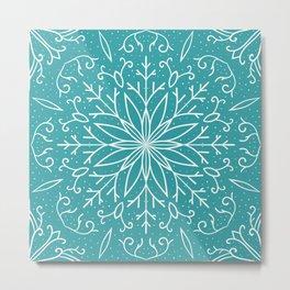 Single Snowflake - Teal Blue Metal Print
