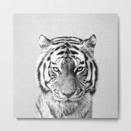 Tiger - Black & White Metal Print