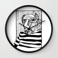 pablo picasso Wall Clocks featuring Pablo Picasso by Benson Koo