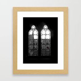 Stained Glass Window and That Darned Red Umbrella Framed Art Print