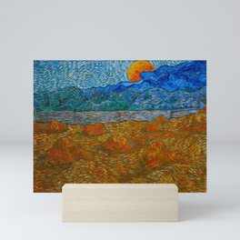 Landscape with wheat sheaves and rising moon Oil on canvas Painting by Vincent van Gogh Mini Art Print