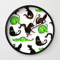 dinosaurs Wall Clocks featuring dinosaurs by Lara Paulussen