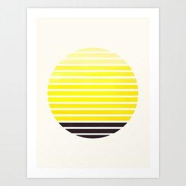 Yellow Mid Century Modern Minimalist Scandinavian Colorful Stripes Geometric Pattern Round Circle Fr Art Print