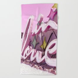"Pink ""In Love"" Sign at the Neon Museum in Las Vegas, Nevada Beach Towel"