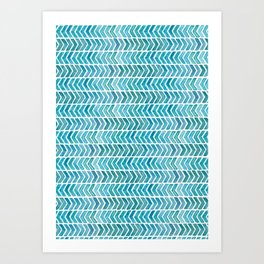 Light Blue Aztec Chevrons.  Art Print