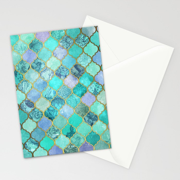 Cool Jade & Icy Mint Decorative Moroccan Tile Pattern Stationery Cards