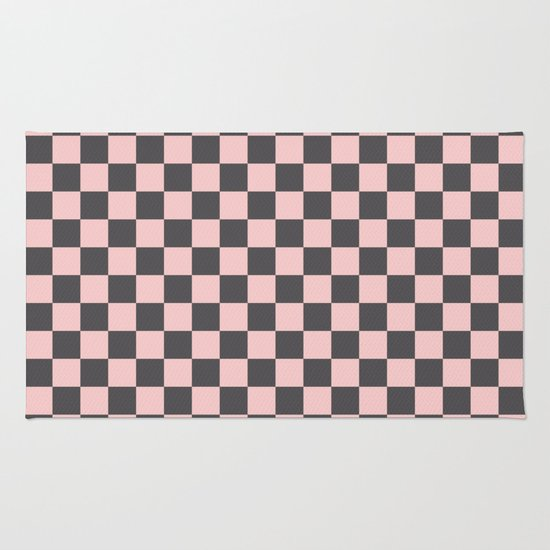 Checkered Flag Rug: Gingham Millennial Pink Blush Rose Quartz Coco Brown