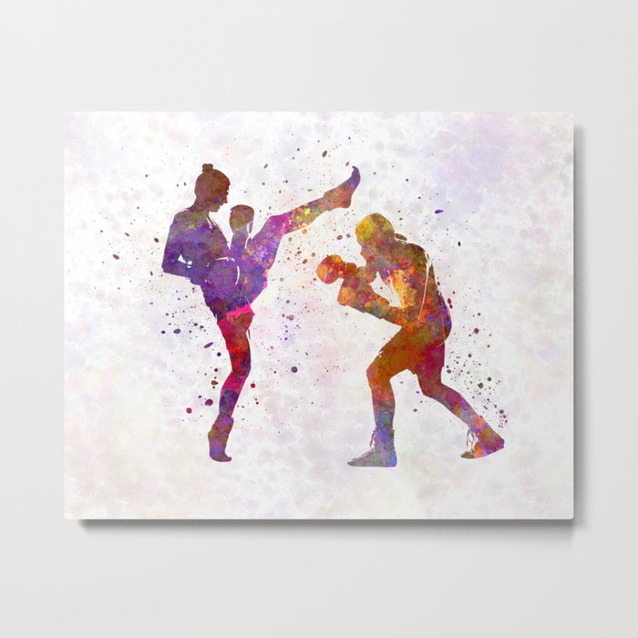 Woman boxwe boxing man kickboxing silhouette isolated 01 Metal Print