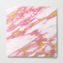 Pink marble with gold Metal Print