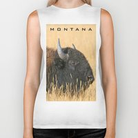 montana Biker Tanks featuring Montana Bison by David Todd