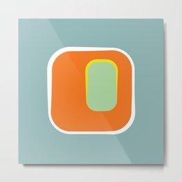 Mod Pod -Retro Turquoise Orange Metal Print