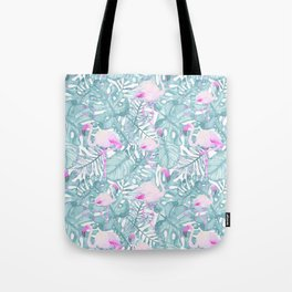 Neon pink green watercolor flamingo tropical leaves Tote Bag