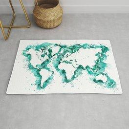 Watercolor splatters world map in teal Rug