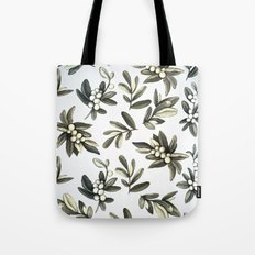 Pattern with mistletoe branches.  Watercolor Tote Bag