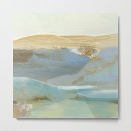 Southwestern Blue, Bronze, Abstract Landscape Painting Metal Print