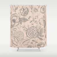 vintage flowers Shower Curtains featuring Vintage flowers by Indi Maverick