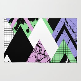 Textured Points - Marbled, pastel, black and white, paint splat textured geometric triangles Rug