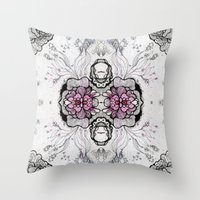 duvet cover Throw Pillows featuring Flower Duvet Cover by Tintedfaint