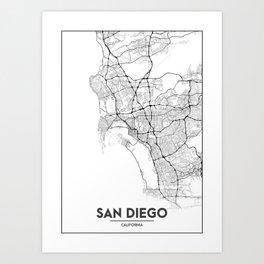 Minimal City Maps - Map Of San Diego, California, United States Art Print