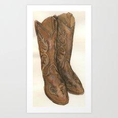 Watercolor Cowboy Boots Art Print