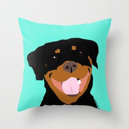 Rottweiler graphic on Mint Throw Pillow