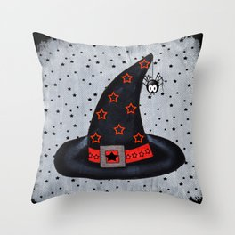Black Witch Hat Silver Buckle Black Stars Cute Dangling Spider Throw Pillow