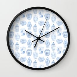 Classic Blue And White Watercolor Ginger Jar Chinoiserie Pattern Wall Clock
