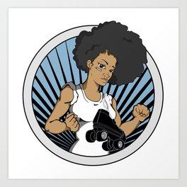 Black Roller Derby Girls Rock! Art Print