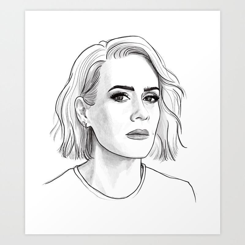 Sarah paulson pencil portrait art print