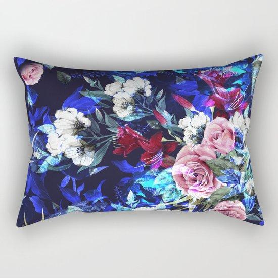 Dark Blue Floral Pattern Rectangular Pillow