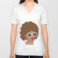 afro V-neck T-shirts featuring Afro by Zenga N