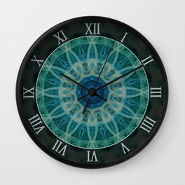 Detailed mandala in blue and green clours Wall Clock