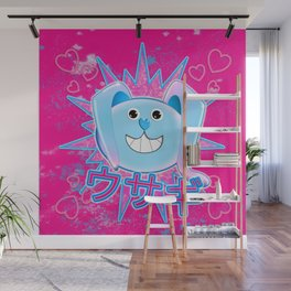 Rabbit in pink and blue! Wall Mural