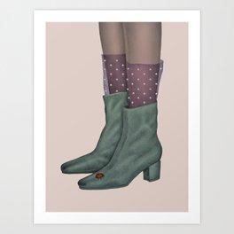 Boots and ladybug Art Print