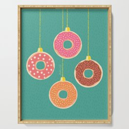 Christmas Donut Baubles, Colorful Festive Xmas Tree Sweet Ornaments, Pink, Blush, Orange, Teal, Mint Color, Winter Holiday Decoration Pattern Serving Tray