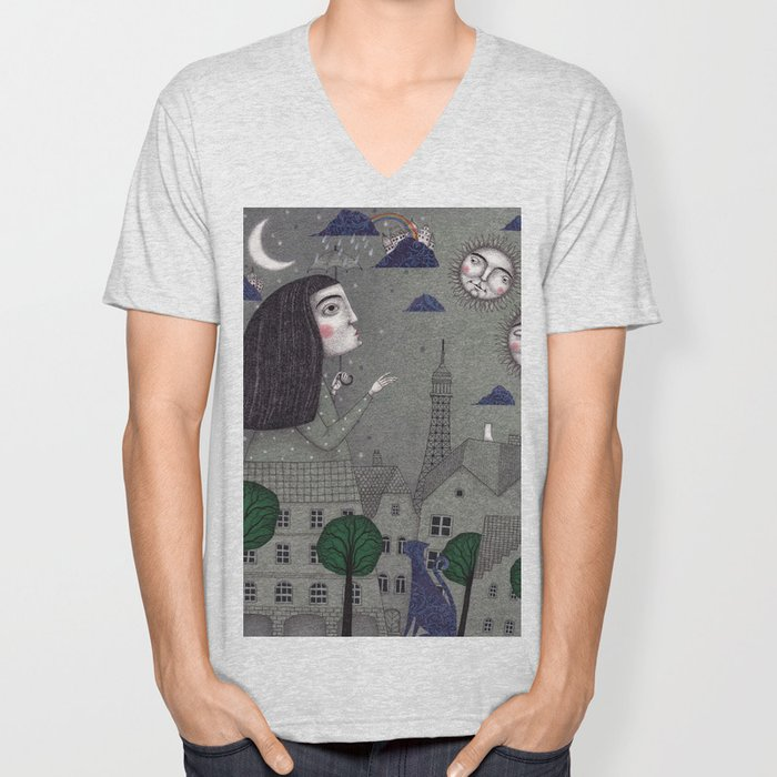 Above the Rooftops Unisex V-Neck