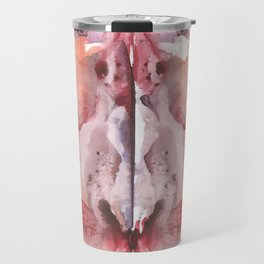 pink Rorschach test, watercolor, monotype, abstract colorful symmetric painting Travel Mug