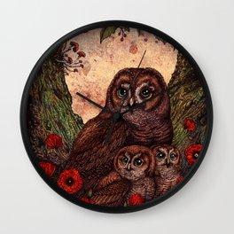 Tawny Owlets Wall Clock