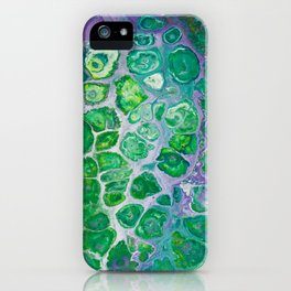 Green marble painting iPhone Case