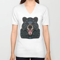 ornate V-neck T-shirts featuring Ornate Black Bear by ArtLovePassion