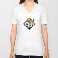 gladiator V-neck T-shirts featuring Gladiator With Sword And Shield by retrovectors