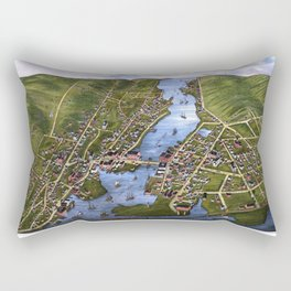 MYSTIC RIVER CONNECTICUT city old map Father Day art print Rectangular Pillow