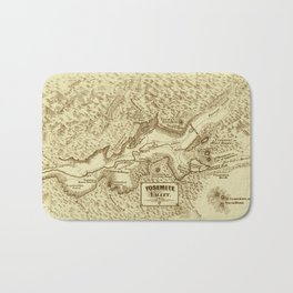 Vintage Yosemite Map 1870 Bath Mat