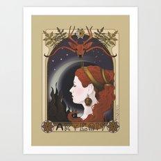 Artemisa goddess art nouveau style Art Print